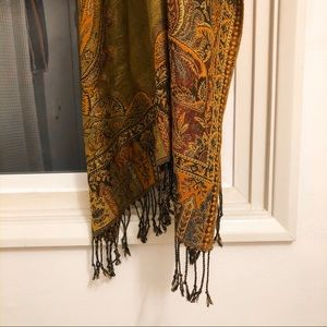 Gorgeous Yellow Patterned & Glittery Scarf